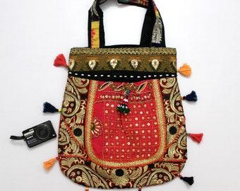 Handmade Ethnic Designer Tribal Banjara Patchwork Embroidered Hippy Fashionable Stylish Trendy Hippie Gypsy Boho Bohemian Carry Bag I208