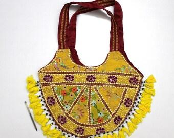Handmade Ethnic Designer Tribal Banjara Patchwork Embroidered Hippy Fashionable Stylish Trendy Hippie Gypsy Boho Bohemian Shopper Bag F168