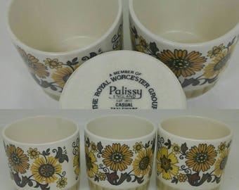 3 palissy England Casual Tableware 1970s pots ideal for Jam marmalade honey.Made by the Royal Worcester Group