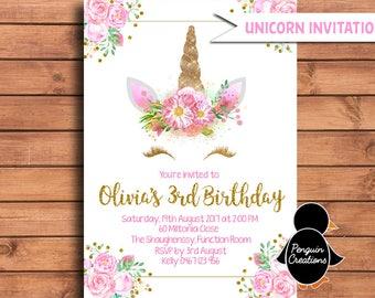 Unicorn Birthday Invitation Gold Glitter Unicorn Birthday Party Unicorn Baby Shower.