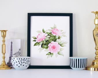 Pink Carnations Print, Watercolor Print, Art Print, Watercolor Flowers, Home Decor, Office Decor, Gifts for Her, Floral Print, 8x10