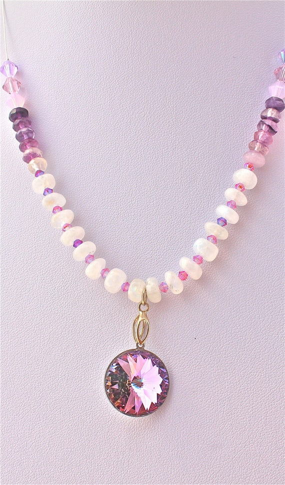 Cabochon swarovski purple bridal necklace and stones precious rainbow moonstone