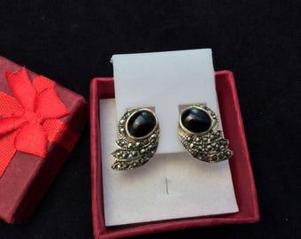 Sterling Silver Onyx and Marcasite stud earrings, Ladies Black Earrings