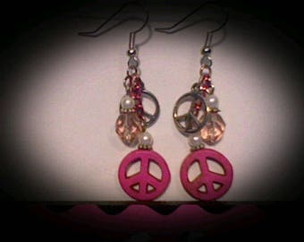 Peace sign funky earrings. pink w/pink & white accent beads.
