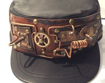 Steampunk Cap, Engineer Captain Style, With Leather Band With Gear Cog Wire Rivets Wheels Embellishments, Military Army Style hat