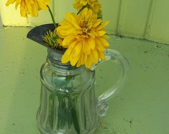 Vintage Glass Syrup Pitcher