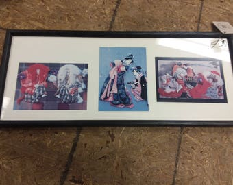Vintage Set of 3 Framed Post Cards