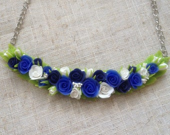 Necklace with blue roses-Handmade jeweler-Blue roses-Wedding jeweler-necklace Flower-Royal blue necklace-flower jewelry polymer clay- колье