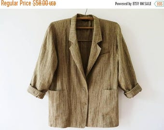 CIJ SALE Vintage MARIMEKKO Women Linen Blazer Striped Linen Jacket Oversized Unlined Summer Jacket Scandinavian Design Size Xl Large