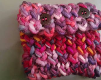 Small hand knit coin purse