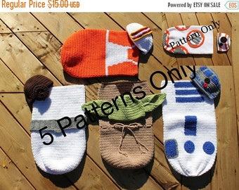 Sale 5 CROCHET PATTERNS Star Wars Newborn Cocoon and Hat, Newborn Costume, BB-8, R2D2, Yoda, Newborn Photo Prop, Baby Costume, Star Wars Bab