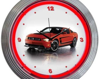 """Antique Style """" Ford Mustang Boss 302 """" Neon Clock"""