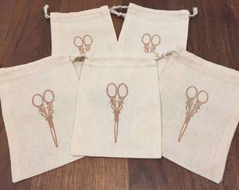 Vintage Scissor Stamped Muslin Bags - Set of 5