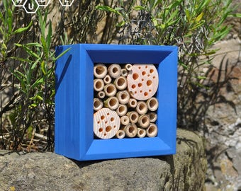 Mason Bee House Gift | Square Solitary Bee House | Blue Insect House | Eco-Friendly Gift | Gift for Gardeners | Leafcutter Bee Home