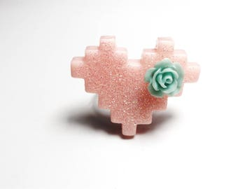 Pixel heart ring geek - glitter