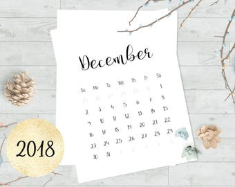 2018 calendar printable by month