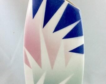 John Bergen Vase Hand Painted Studio Abstract Modernist