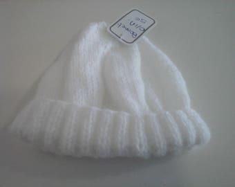 White newborn baby bonnet