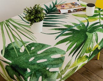 Palm House Green Tablecloth / Kitchen Tablecloth / Thanksgiving Tablecloth  / Rectangle Tablecloth / Indoor Outdoor