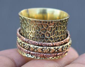 Birthday good luck gift rings   Ethnic spinner rings   Tribal spinning band rings   Texture 2 tone ring   Wide fashion brass rings   R223