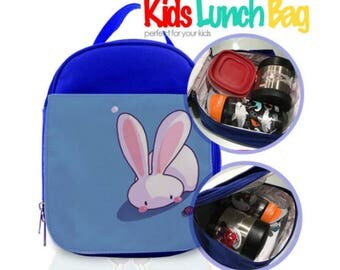PERSONALIZED CUSTOM Kids Lunch Bag with Zipper and Packet Pouch