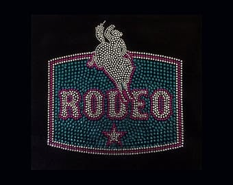 "Western, Rodeo Rider (8.5x8.5"")  Rhinestone Bling T-Shirt Personalize Customize"