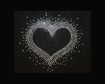 "Faith, Faded Heart (7x7"") Crown Rhinestone Bling T-Shirt God"