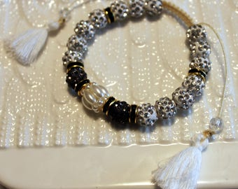Cute Czech crystal disco-ball rhinestone-beaded bracelet with tassel; shamballa, white, black, beautiful, handmade, beadweaving