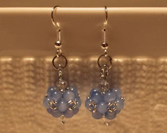 Beautiful Czech crystal-beaded earrngs in blue; handmade, beadweaving, dangle & drop, cute, casual-wear, party-wear