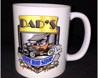 Dad's Hot Rod Shop Shield, Hot Rod, Custom Car Coffee Mug, Street Rod, Roadster