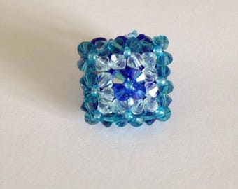 Swarovski Crystal, faceted and blue seed ring
