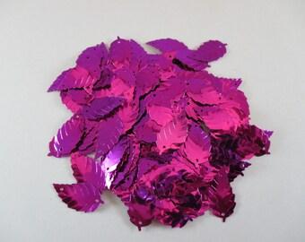 Sequin sewing, leaf shape, color pink.
