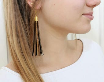 Dark gold leather tassel earrings, tassel with gold color elements