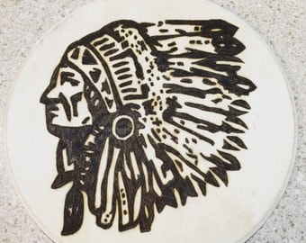 Indian chief woodburning