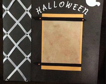 HALLOWEEN 2 premade Scrapbook Pages 12x12! Paper Piecing Bear!