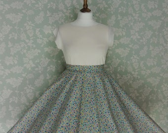 Light blue floral circle skirt
