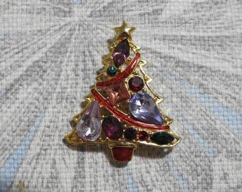 signed vintage christopher radko gold plate enamel and rhinestone figural christmas tree brooch