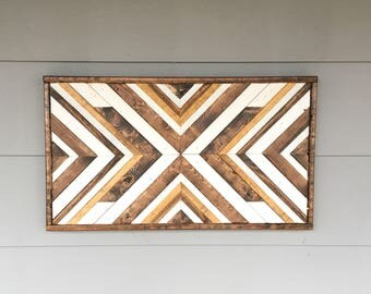 Reclaimed Wood Wall Art - Geometric Wall Hanging - Rustic Home Decor - Farmhouse Decor - Wood Mosaic
