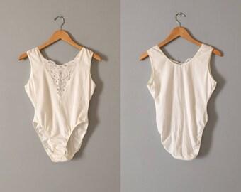 chalk white cotton bodysuit    1980s lace bustier bodysuit