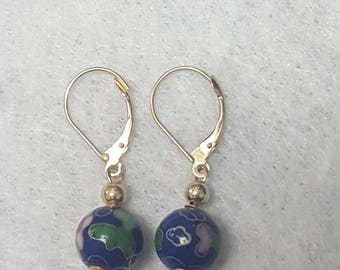 14k yellow gold cloisonne enamel flower bead dangle earrings