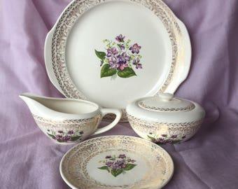Spring Violet China Set, 4pc, Cunningham Pickett 22kt Gold Cake Plate, 1930s Sugar Creamer Set