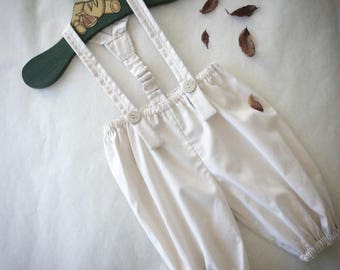 Baby Boys Beige Cotton Pants with removable Suspenders