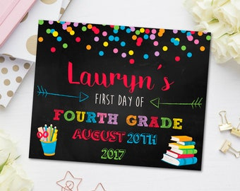 First Day of Fourth Grade Sign, First Day of School Chalkboard, Back to School Sign, Kindergarten, Fourth Grade, Second Grade