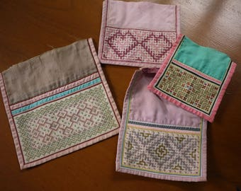 Hmong stitched textile - recycled textile patches - 4 pieces - tribal old textile pieces