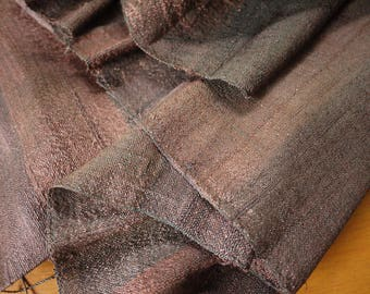 Traditional handwoven silk textile - asian tribal silk textile - handwoven traditional Thai scarf silk weaving -shades of brown