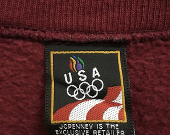 RARE!!! Olympic Usa JC Penney Small Logo Embroidery Crew Neck Maroon Colour Sweatshirts Hip Hop Swag XL Size