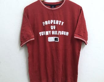 RARE!!! Tommy Hilfiger Big Logo Embroidery Crew Neck Red Colour T-Shirts M Size