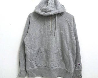 RARE!!! Champion Small Logo Embroidery Grey Colour Hoodies Hip Hop Swag LL Size