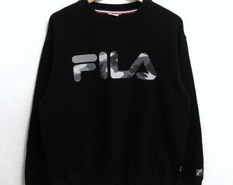 RARE!!! FILA Big Logo Camouflage Crew Neck Black Colour Sweatshirts Hip Hop Swag L Size