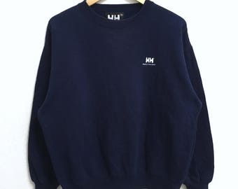 RARE!!! HELLY HANSEN Small Logo Embroidery Crew Neck Dark Blue Colour Sweatshirts Hip Hop Swag L Size